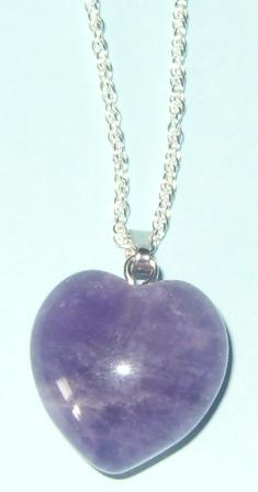 Amethyst Puffy Heart Pendant Sterling Silver chain