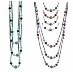 Magnetic Hematite Triple Strand Necklace with 24 semi precious stone beads