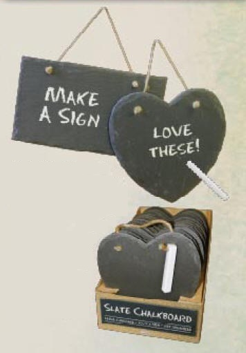 Slate Chalkboards hanging on rope.  Rectangle and Heart shaped boards