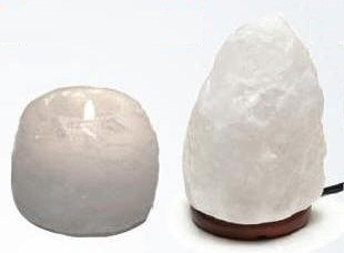 White Himalayan Salt Lamps and Candleholders
