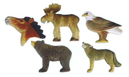 Painted wooden Animal Magnets carved from wood